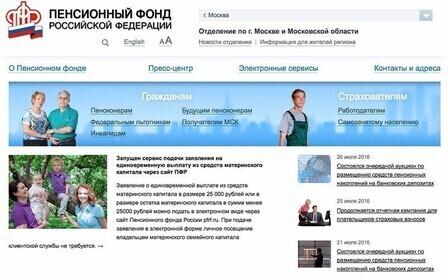 Пенсионный фонд рф официальный сайт