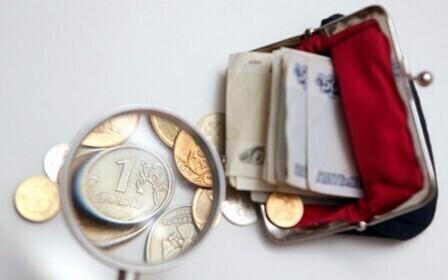 кошелек и монеты под лупой
